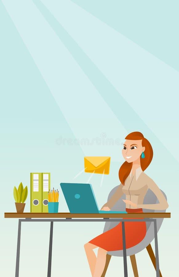 Бизнес-леди получая или посылая электронную почту бесплатная иллюстрация