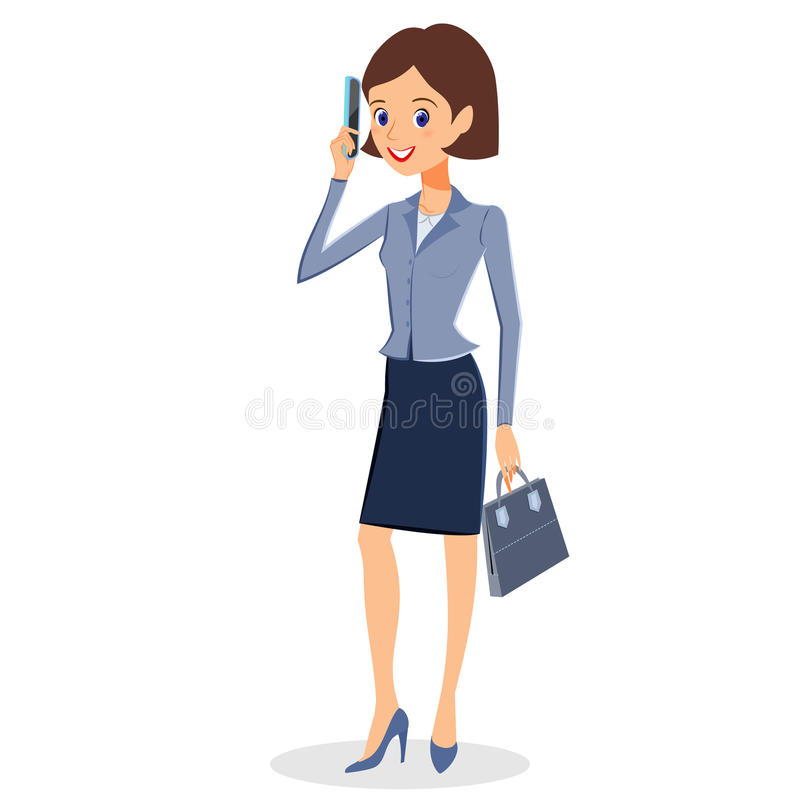 Бизнес-леди с вектором характера smartphone иллюстрация вектора