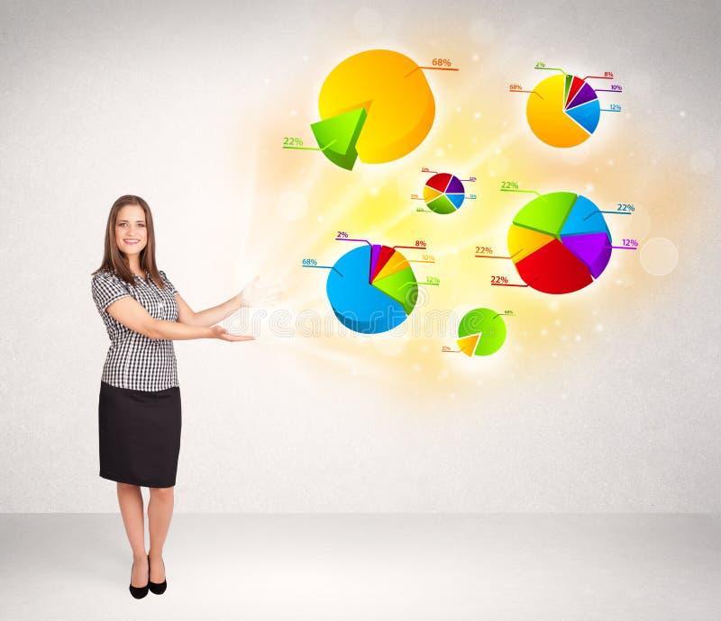 Бизнес-леди с красочными диаграммами и диаграммами иллюстрация штока