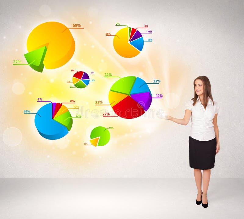 Бизнес-леди с красочными диаграммами и диаграммами бесплатная иллюстрация
