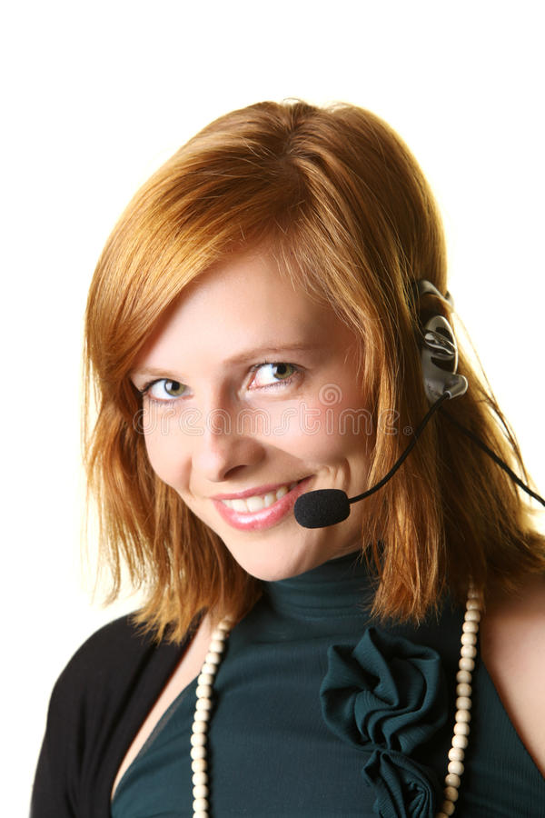 Бизнес-леди с наушниками стоковое изображение rf