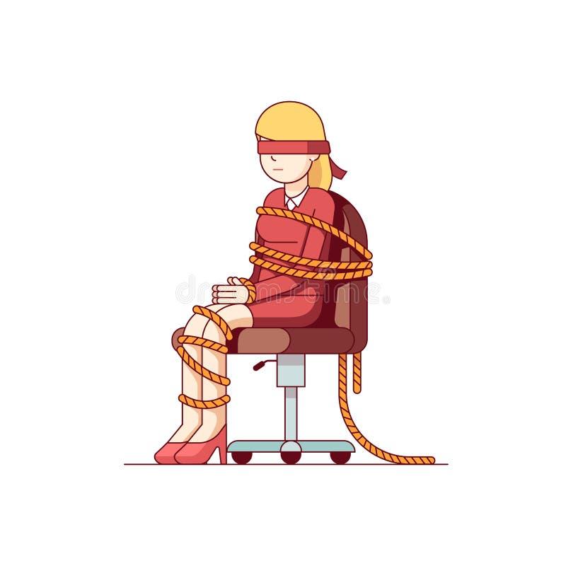 Бизнес-леди с связанными руками, foots сидит на стуле иллюстрация вектора