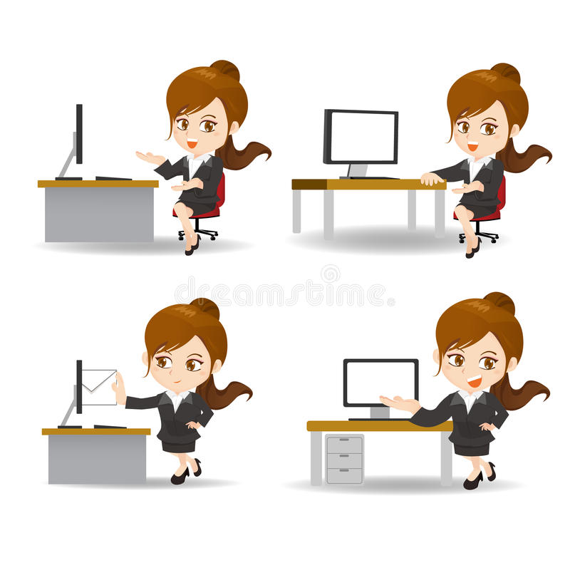 Бизнес-леди шаржа в офисе иллюстрация штока