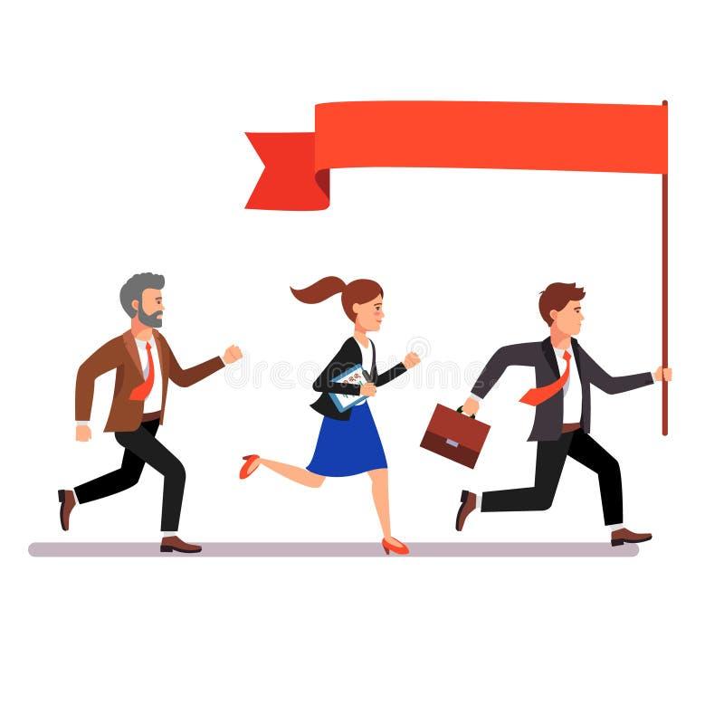 Бизнес лидер водя путь к его коллегам бесплатная иллюстрация