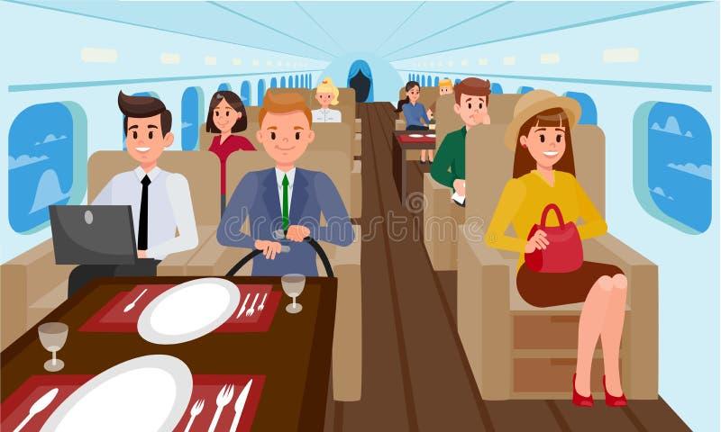 Бизнес-класс в иллюстрации самолета плоской иллюстрация штока