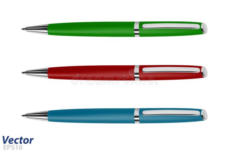 Бизнес-класс ручки ролика в векторе Автоматическая ручка шарика в векторе иллюстрация штока
