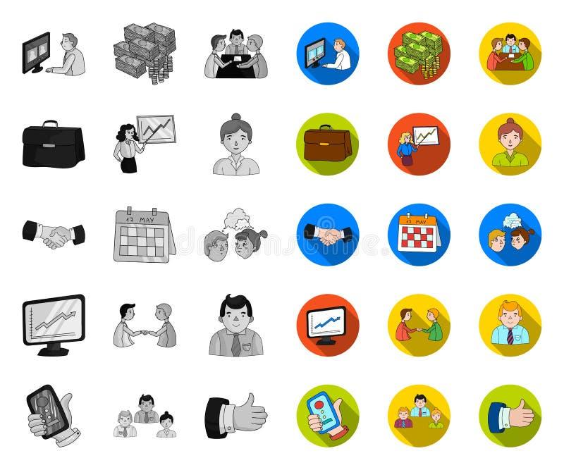 Бизнес-конференция и переговоры mono, плоские значки в установленном собрании для дизайна Дело и тренируя символ вектора иллюстрация штока