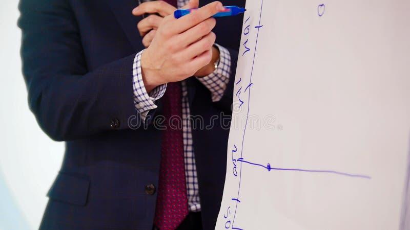 Бизнес-конференция Человек рисуя расписание на лекции по промежутка времени стола стоковое фото