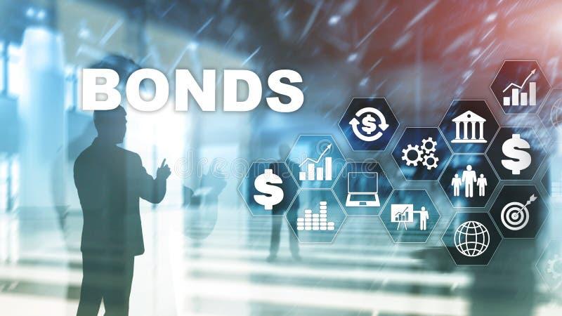 Бизнес-концепция банковской технологии облигаций Сеть электронного рынка торговли иллюстрация вектора