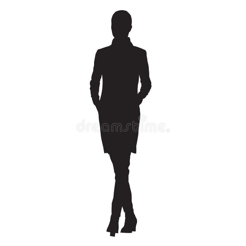 Бизнес-леди в куртке с руками в ее карманн идя, isol бесплатная иллюстрация