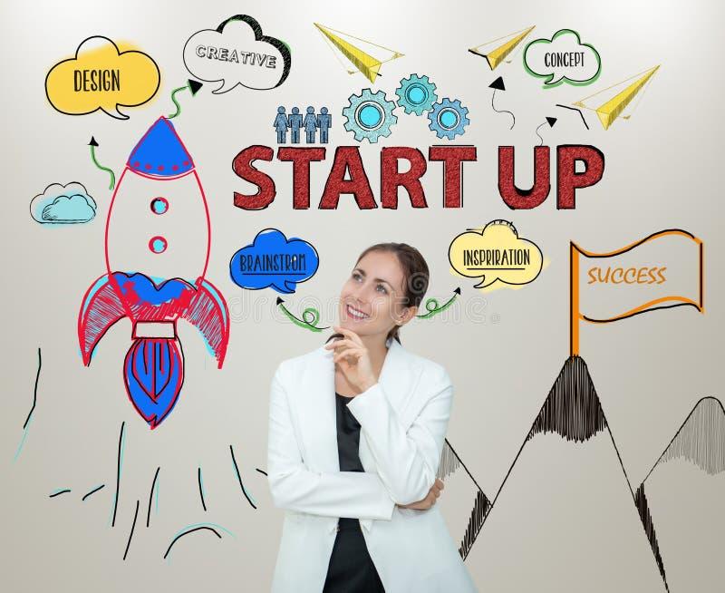 Бизнес-леди думая startup новые идеи с нововведением стоковая фотография rf