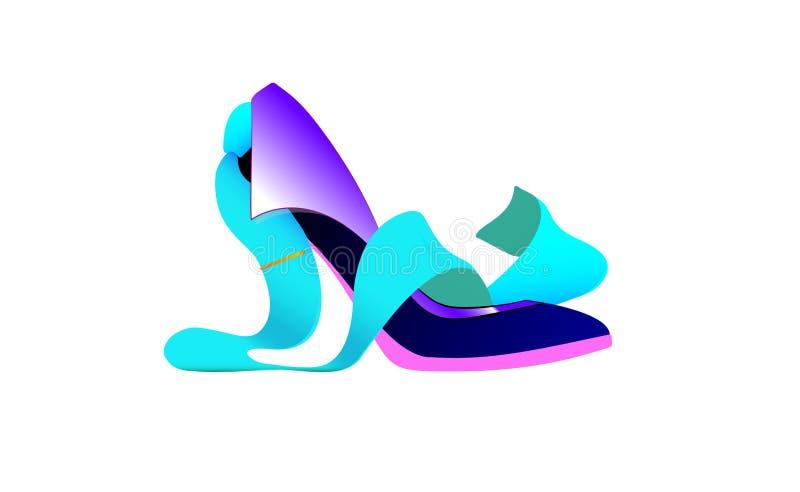 Бизнес-леди логотипа, связь ботинка Абстрактная творческая изолированные концепция девушки дел, значок вектора для сети и передви иллюстрация штока