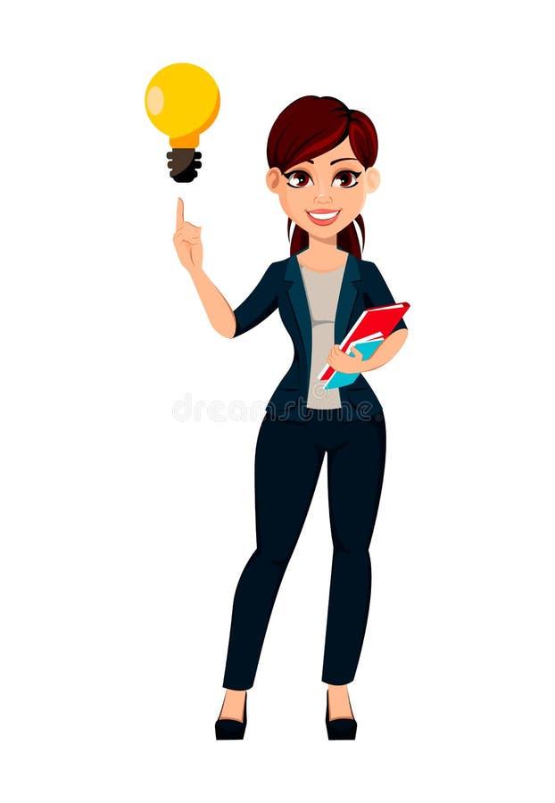 Бизнес-леди молодого красивого womanYoung дела красивая имеет хорошую идею бесплатная иллюстрация