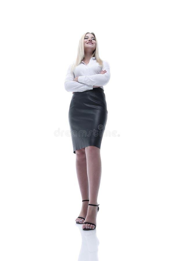 Бизнес-леди роста портрета полностью уверенно молодая делая движение стоковое изображение rf