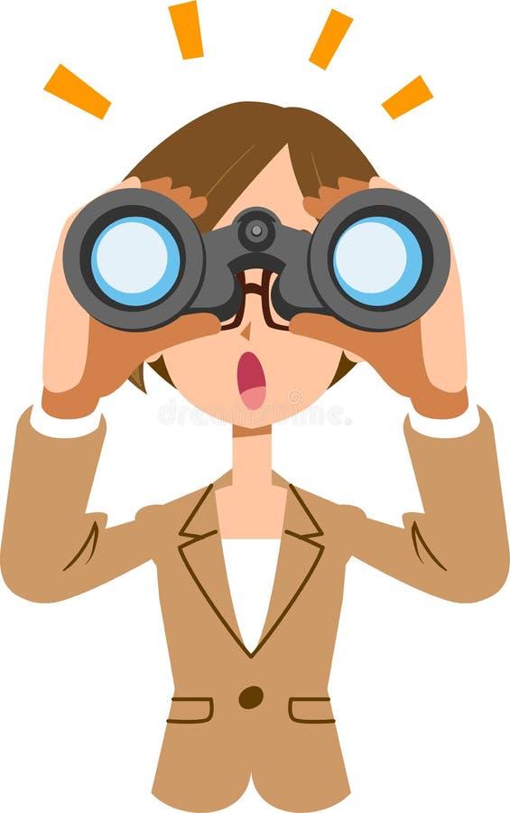 Бизнес-леди смотря в бинокли и замечая что-то бесплатная иллюстрация