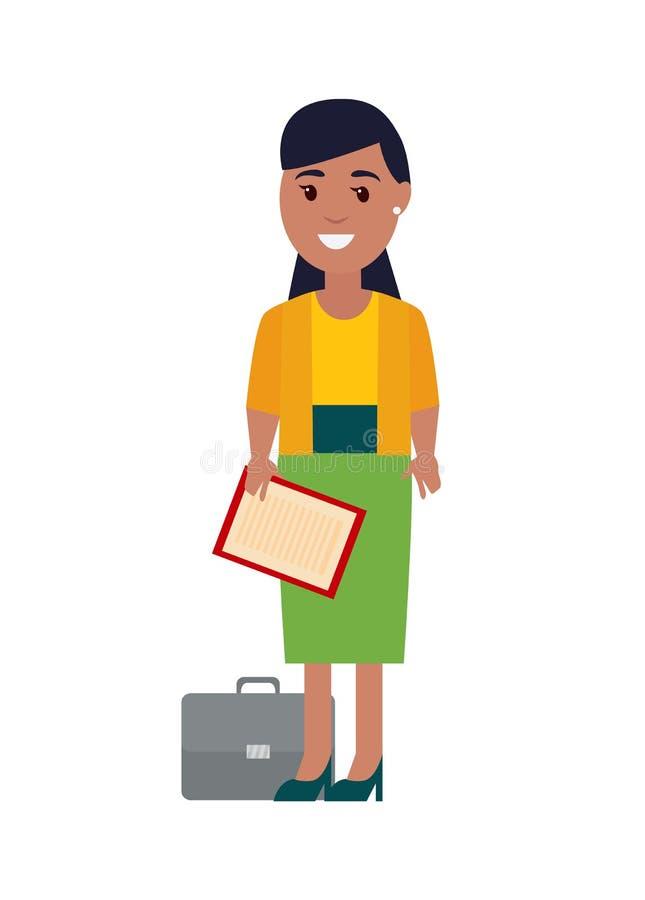 Бизнес-леди с иллюстрацией вектора бумаг иллюстрация вектора