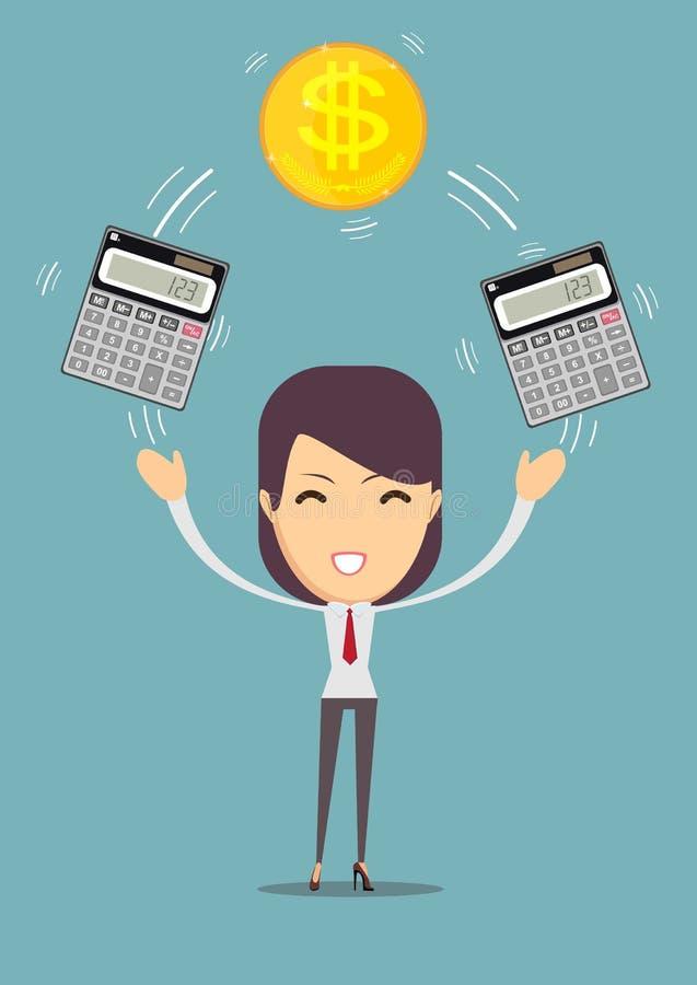 Бизнес-леди с калькулятором и деньгами Выгода, концепция финансов иллюстрация вектора