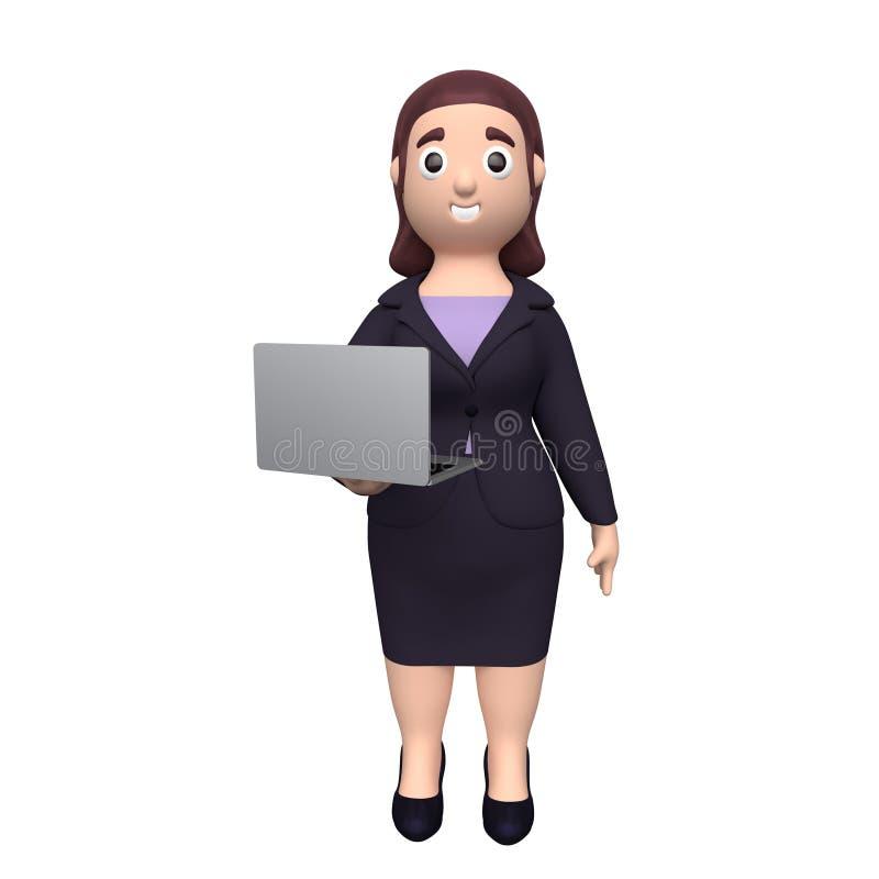 Бизнес-леди с ноутбуком r иллюстрация штока