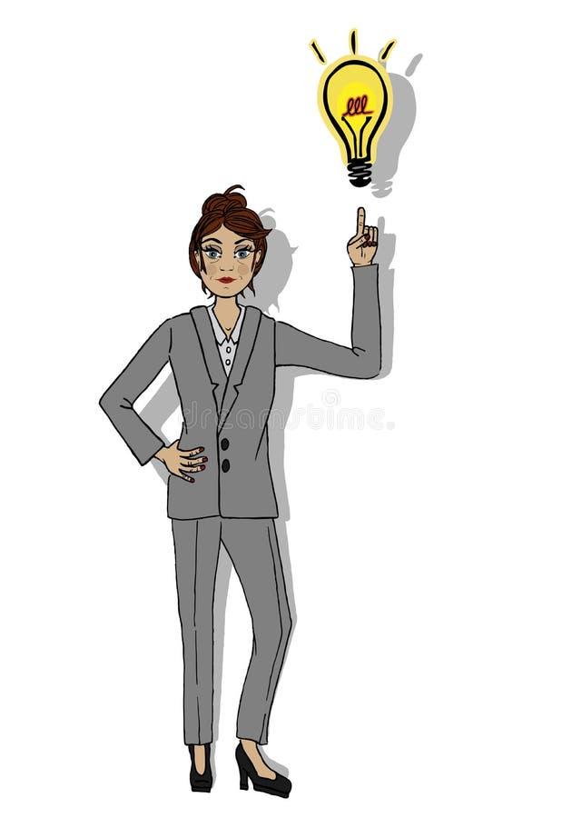 Бизнес-леди указывая ее палец к свету пузыря иллюстрация вектора