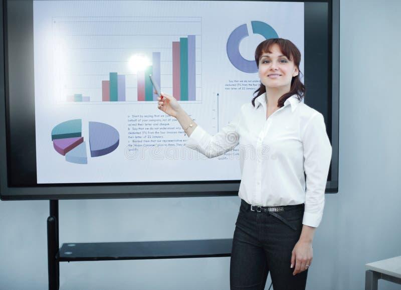 Бизнес-леди указывая отметка на финансовой диаграмме стоковое фото rf