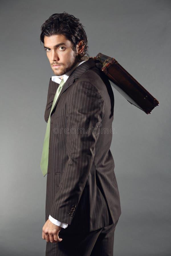 Бизнес модель представляя с портфелем стоковая фотография rf