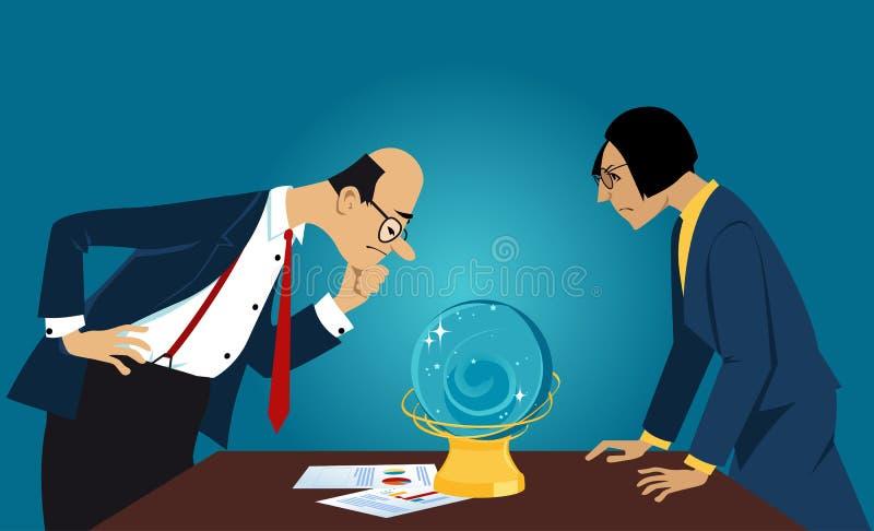 Бизнес-прогноз в хрустальном шаре иллюстрация штока