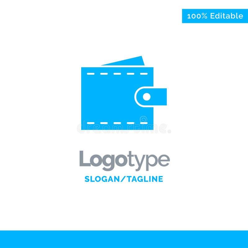 Бизнес, финансы, интерфейс, пользователь, логотип Wallet Blue Solid Место для метки иллюстрация вектора