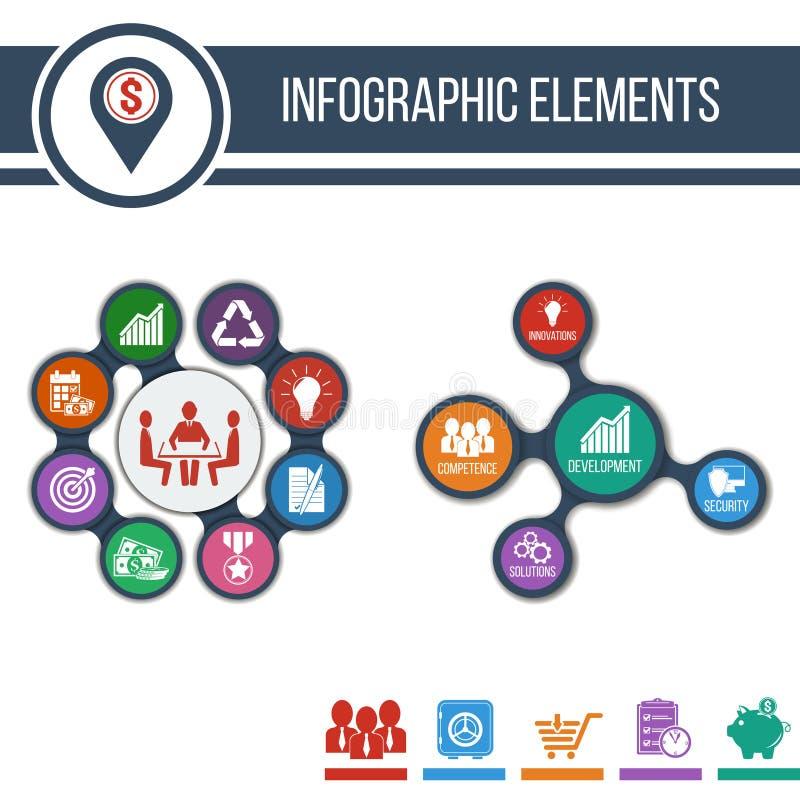 Бизнес Шаблон Infographic постепенные или знамя места с интегрированными значками иллюстрация вектора