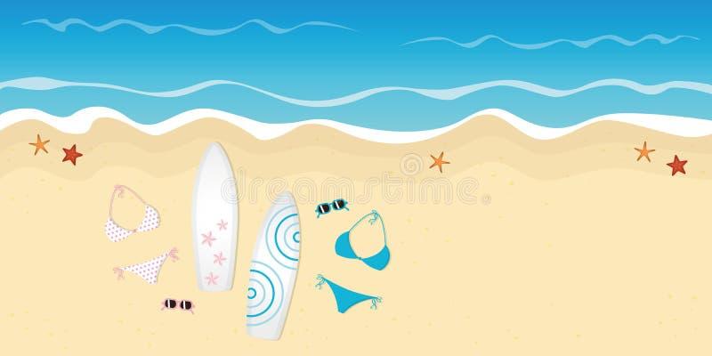 2 бикини и солнечного очк surfboards на пляже иллюстрация вектора
