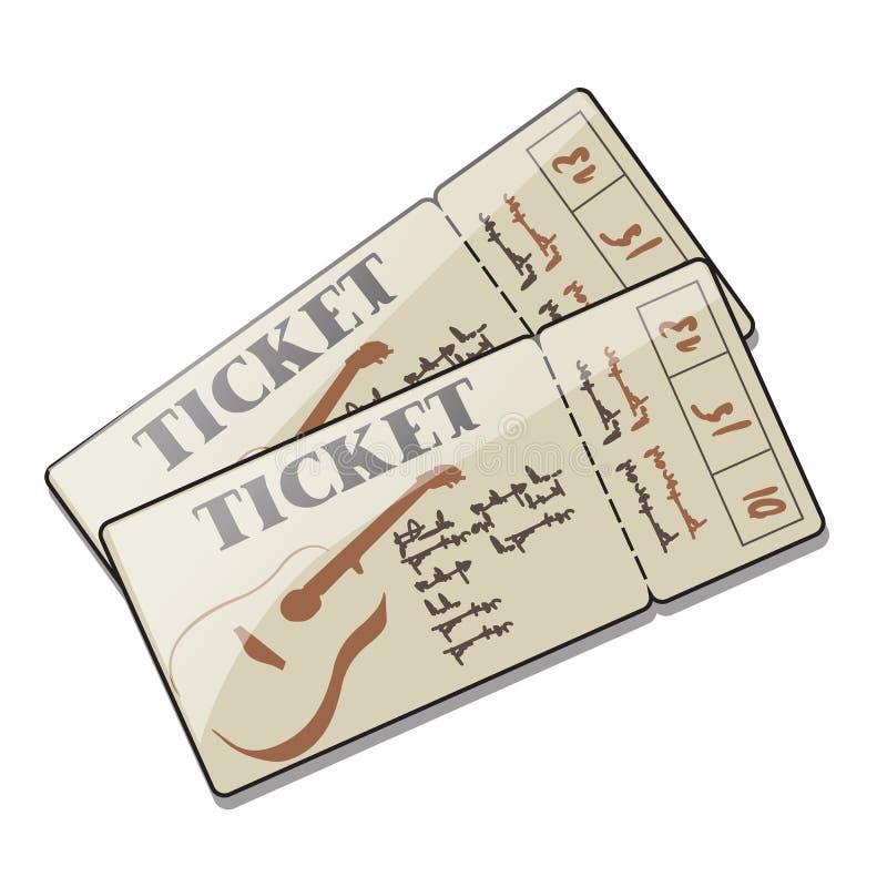 2 билета к концерту живой музыки гитары, chanson, утеса, романтичных баллад Комплект приглашений события с иллюстрация штока