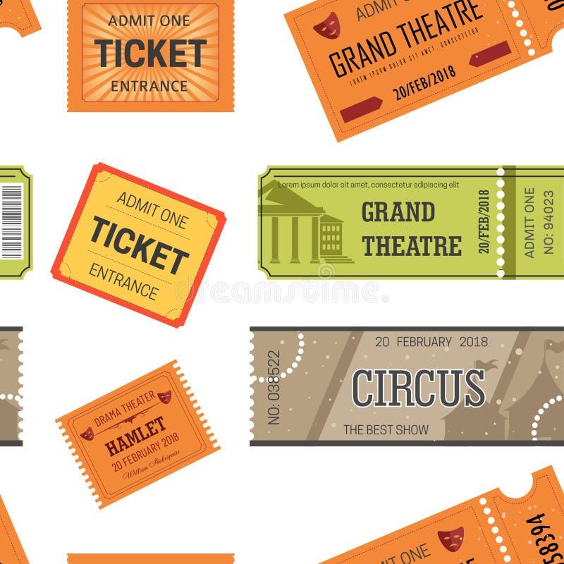 Билеты конструируют шаблоны для фильма, театра или кино и цирка или картины шоу безшовной иллюстрация штока