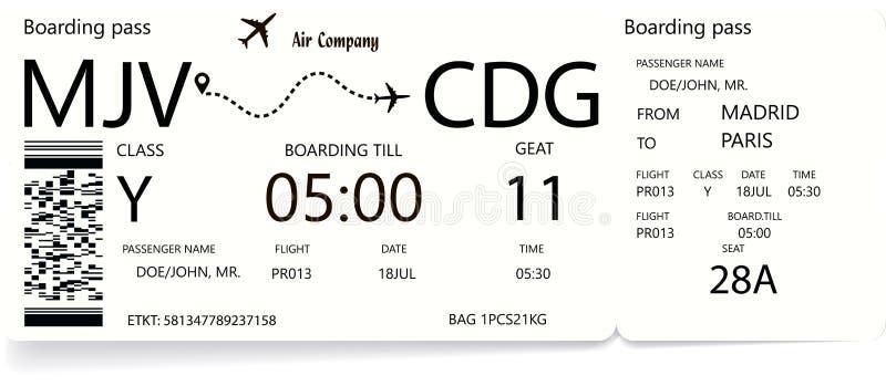 Билеты посадочного талона авиакомпании с тенью иллюстрация штока