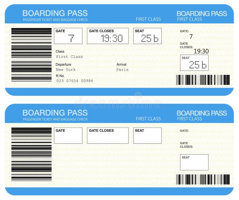 билеты пропуска восхождения на борт авиакомпании иллюстрация штока