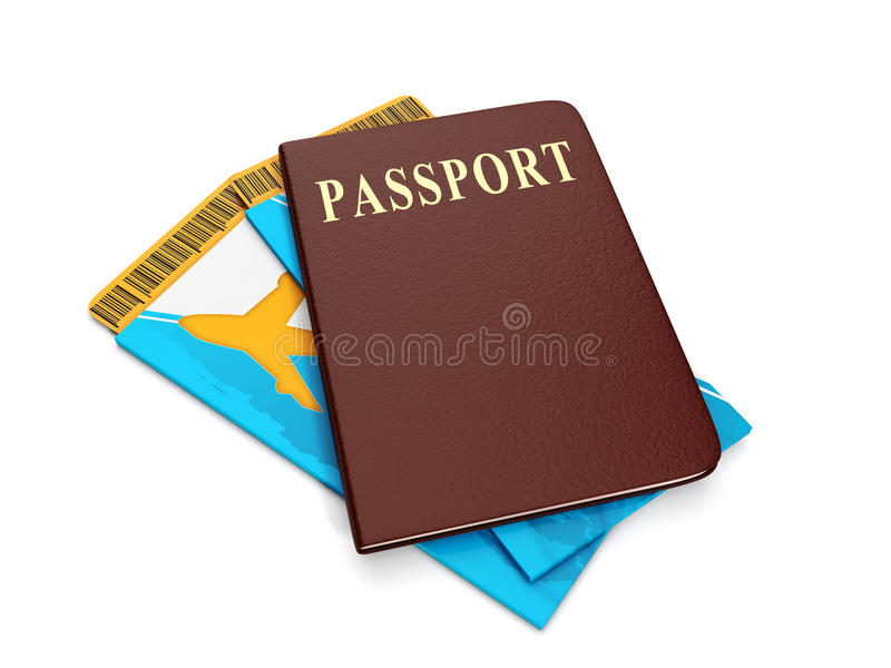 Билет и пасспорт группы иллюстрация штока