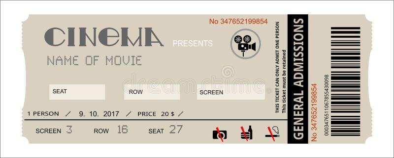 Билет события кино иллюстрация вектора