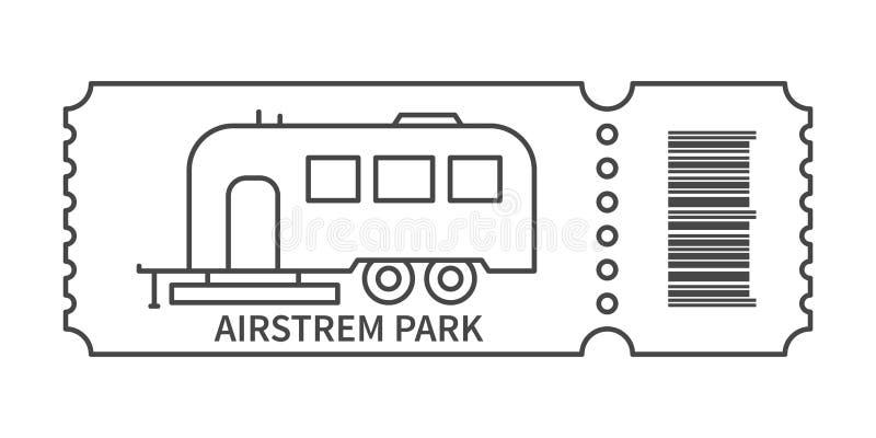 Билет со штрихкодом и трейлером иллюстрация вектора