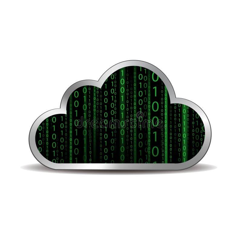 Бинарное облако вычисляя бесплатная иллюстрация