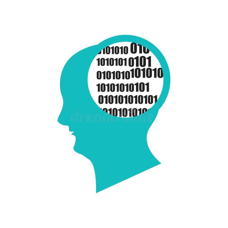Бинарный знак и символ вектора значка разума изолированные на белой предпосылке, бинарной концепции логотипа разума иллюстрация вектора