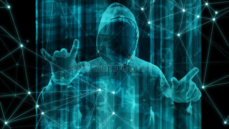 Бинарный код для предпосылки конспекта машинного обучения, преступления кибер робота безопасностью кибер компьютера иллюстрация штока