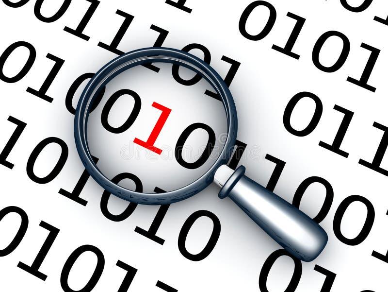 Бинарный код и объектив иллюстрация вектора