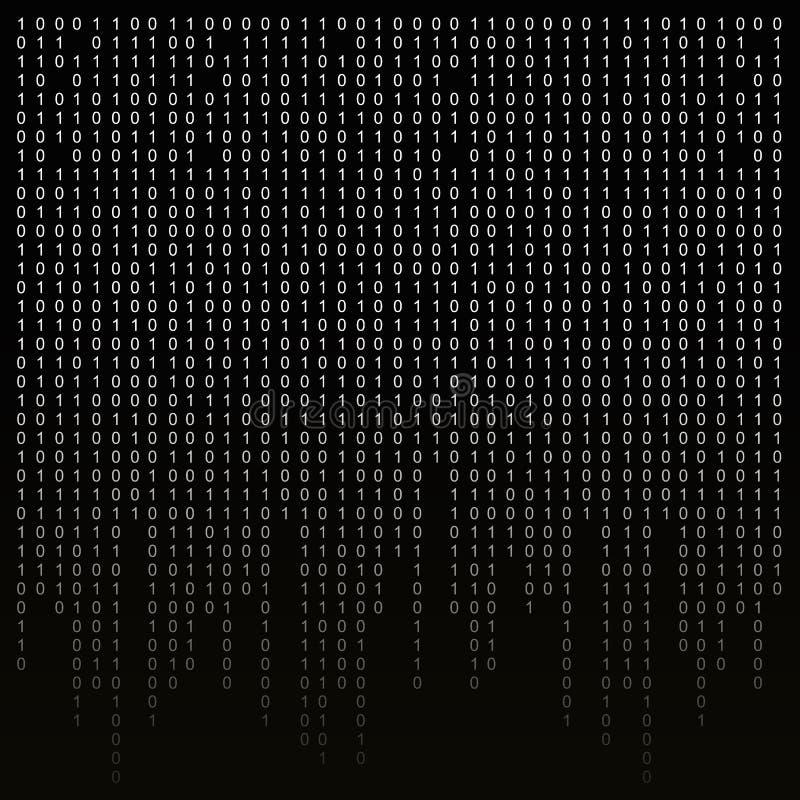 Бинарный код на черной предпосылке алгоритм, шифрование, шифруя матрица иллюстрация вектора