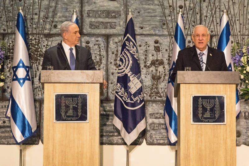 Биньямин Нетаньяху и Reuven Rivlin стоковые фото