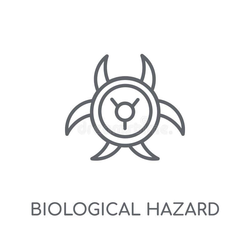 Биологический значок знака опасности линейный Современный план биологический ha бесплатная иллюстрация