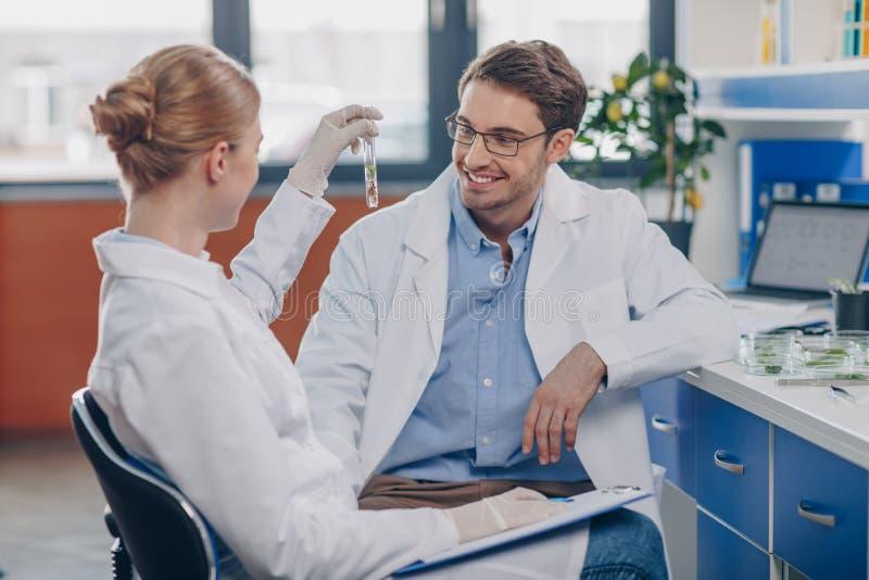 Биологи держа склянку с заводом стоковое изображение rf