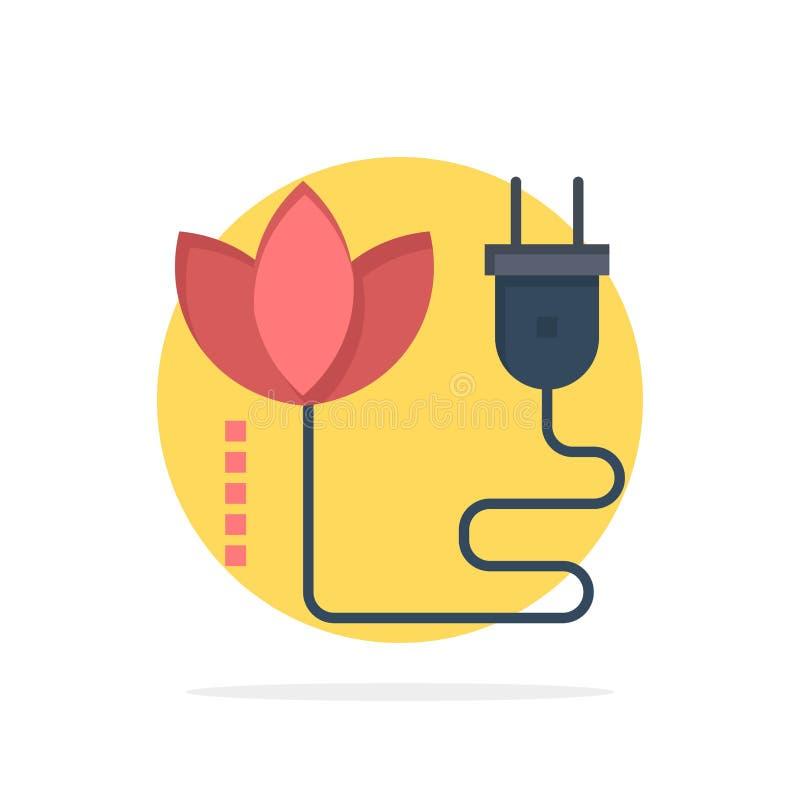 Биомасса, энергия, кабель, значок цвета предпосылки круга конспекта штепсельной вилки плоский иллюстрация вектора