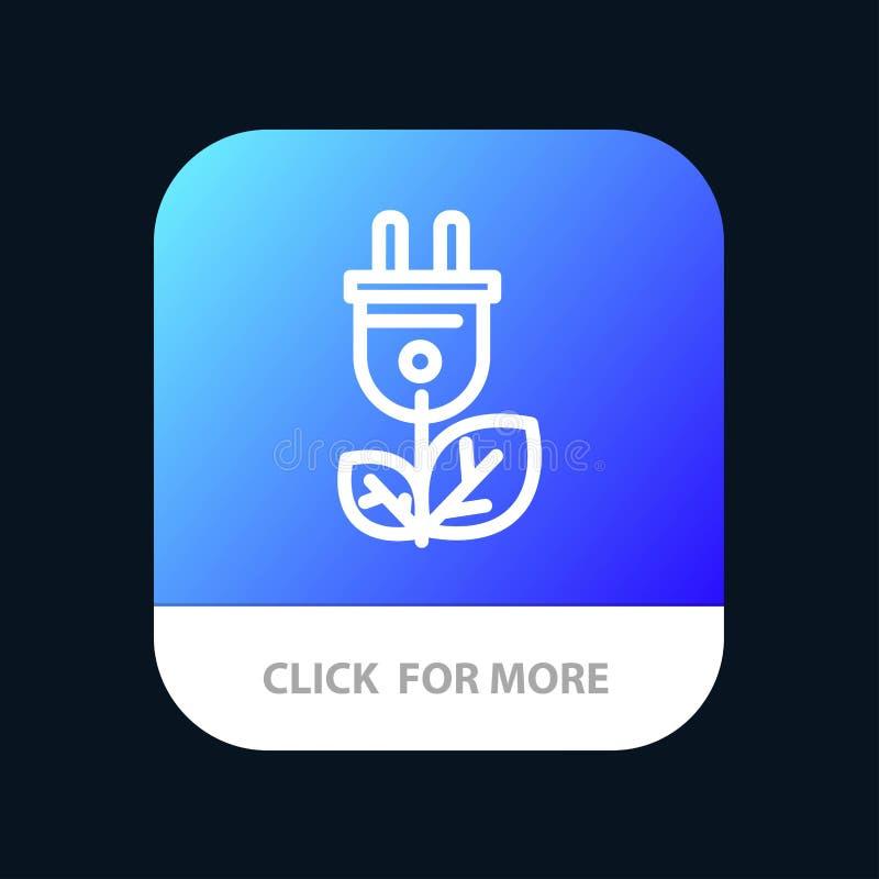 Биомасса, энергия, штепсельная вилка, кнопка приложения силы мобильная Андроид и линия версия IOS иллюстрация штока