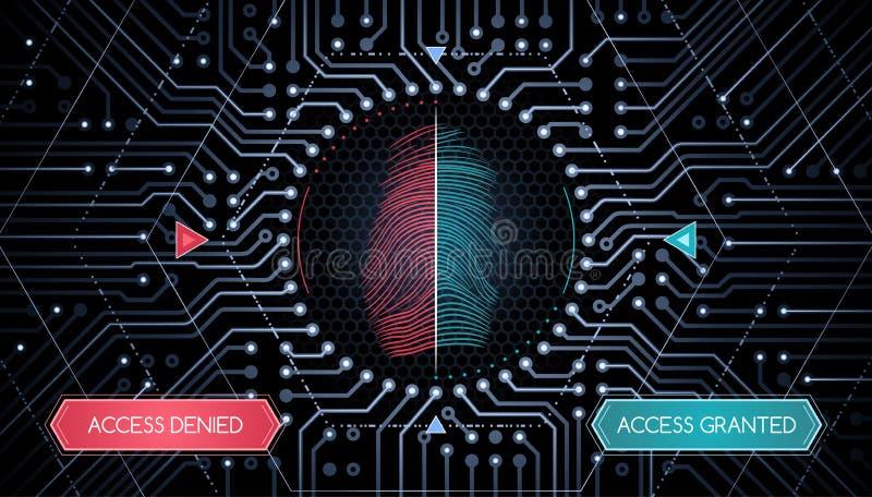 Биометрическая проверка - шаблон Infographic иллюстрация вектора