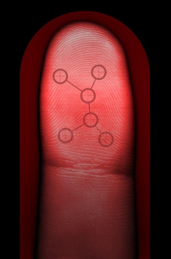 биометрическая развертка фингерпринта стоковое изображение