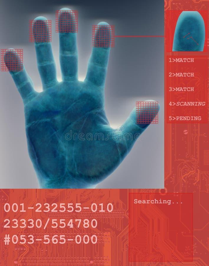 биометрическая электронная развертка фингерпринта иллюстрация штока