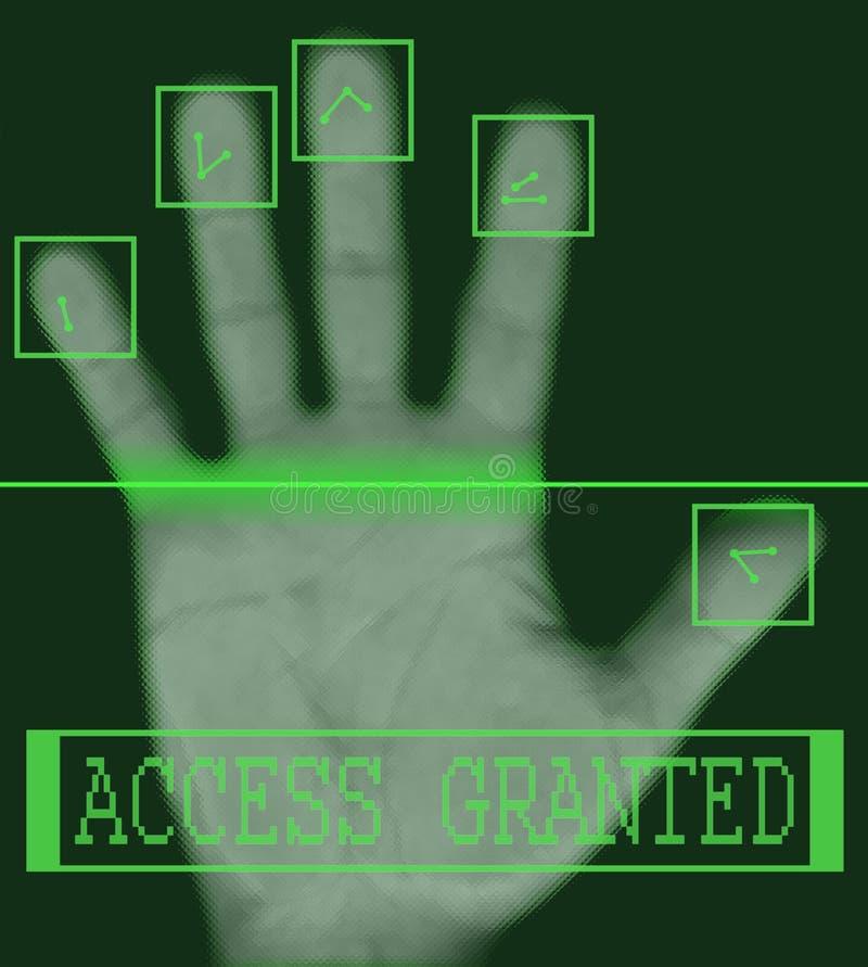 биометрическая электронная скеннирование фингерпринта иллюстрация вектора